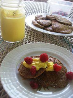 vanilla almond pancake breakfast w/ lemon curd