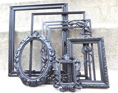 Black Ornate Picture Frame Set Matte and Gloss by melissap6908