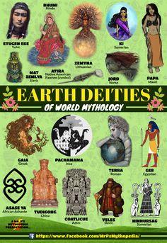 Earth Deities of World Mythology! World Mythology, Greek Mythology, Mythological Creatures, Mythical Creatures, Myths & Monsters, Legends And Myths, World Religions, Cryptozoology, Greek Gods