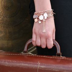 Where in the world will you go next? Stack up our Rose Gold bracelets from our Luna Soul collection.