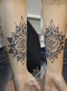 mandala dotwork rose tattoo