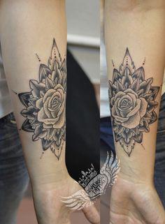 mandala dotwork rose tattoo