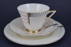 RARE & STUNNING Royal Doulton ART DECO Trio MAGNA Cup, Saucer, Plate 1930s…