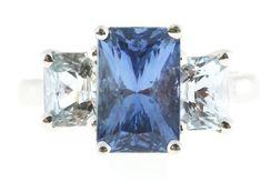 2.30 Carat Natural Blue Topaz & Egl Certified Diamond Ring In 14kt White Gold Fine Rings