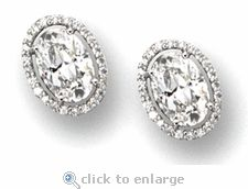 Ovanti 5 Carat Oval Cubic Zirconia Pave Halo Stud Earrings In 14k White Gold By Ziamond