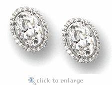 Ovanti 5.5 Carat Oval Cubic Zirconia Pave Halo Stud Earrings in 14k white gold by Ziamond. #ziamond #cubiczirconia #oval #halo #stud #earrings