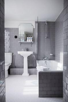 Gray And White Tiled Bathroom Hotel Panache Design Hotel Paris Dorothee Meilichzon