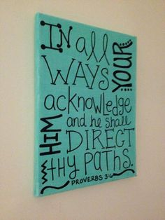 Teal and Black 9x12 canvas with Bible verse Proverbs by MegLu, $12.00