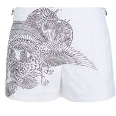 Orlebar Brown Saira Hunjan Whippet Embroidered Woven Shorts (200 AUD) ❤ liked on Polyvore featuring shorts, white, buckle shorts, zipper shorts, woven shorts, embroidered shorts and white shorts
