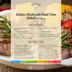 This recipe is a Manna Team favourite! It's quick to whip up and super tasty. What does your family's favourite go to meal? Fresh Corn Salad, Corn Salads, Health And Wellness, Health Fitness, Corn On Cob, Sirloin Steaks, Baby Spinach, 12 Weeks, Fresh Basil