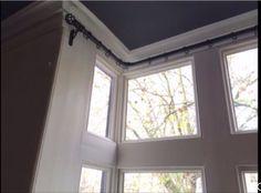 Curtain pole for box bay window only three brackets
