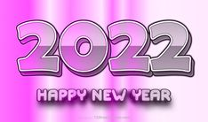 Free Happy New Year 2022 Pink Background Vector