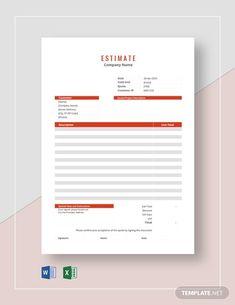 Letterhead Template Word, Estimate Template, Word Doc, Company Names, Letter Size, Website Template, Presentation, Social Media, Microsoft Excel
