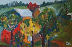 Autumn trees near the house - Tetyana Snezhyk painting
