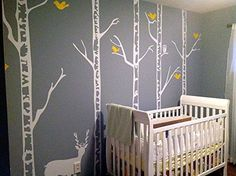 PopDecors - Trees Wall Decal Nursery Deer Baby Decal Wint...