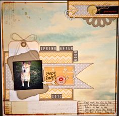 Layered scrapbook Layout with Twine by Gabrielle Lowe