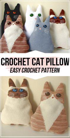 Crochet Cat Pillow pattern - easy crochet pillow pattern for beginners - Crafts . : Crochet Cat Pillow pattern – easy crochet pillow pattern for beginners – Crafts – Gato Crochet, Crochet Mignon, Crochet Amigurumi, Crochet Dolls, Crochet Cat Toys, Crochet Animals, Crochet Pillow Pattern, Crochet Cushions, Easy Crochet Patterns