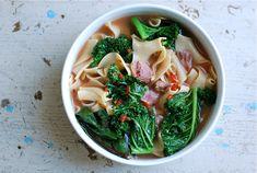potlikker with greens and noodles
