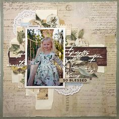 A gorgeous layout by for the June Anthology Creative Kit Mixed Media Scrapbooking, Scrapbooking Layouts, Picture Layouts, Wedding Scrapbook, Layout Inspiration, Scrapbook Albums, Lay Outs, Embellishments, Pictures