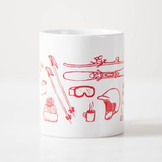 The perfect gift for the skiier in your life! Powder hounds and bunny hill beginners alike will appreciate the hand-drawn ski gear, printed in red ink around the whole way around an 11oz mug. Skis, bo