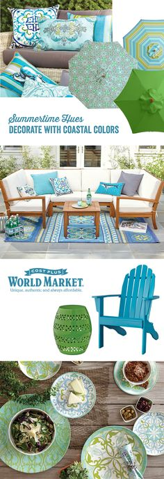 Outdoor Decor, Outdoor Furniture, Outdoor Spaces, Outdoor Living, Calming  Colors, Deep Blue Sea, Summer Colors, Patio Ideas, Porch Ideas