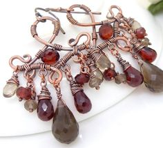 Via Etsy-  Red garnet earrings Wire wrapped copper by CreativityJewellery