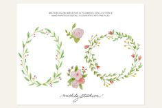 4 PNG Watercolor wreaths/flowers - Illustrations - 1