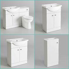 Classic Bathroom Furniture Matte White Vanity Unit Sink Cloakroom Basin Storage