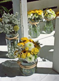 Idea para decorar la boda con tarritos o botes de cristal