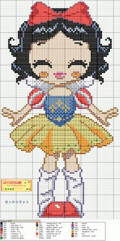 Cute Snow White Hama Perler Bead Pattern or Cross Stitch Chart by alissa Cross Stitch Love, Cross Stitch Charts, Cross Stitch Designs, Cross Stitch Patterns, Disney Stitch, Perler Bead Art, Perler Beads, Cross Stitching, Cross Stitch Embroidery