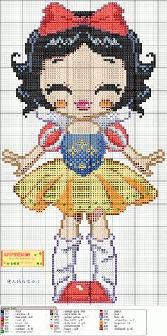 Cute Snow White Hama Perler Bead Pattern or Cross Stitch Chart