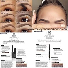 How to create the perfect shaped eyebrows with Arbonne Shop at… Eyebrow Tinting, Eyebrow Brush, Eyebrow Pencil, Eyebrow Makeup, Hair Makeup, Arbonne Consultant, Arbonne Makeup, Arbonne Business, Beauty Tips For Teens