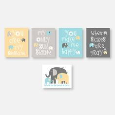 Elephant Nursery CANVAS Art Boy Nursery Decor You Are My