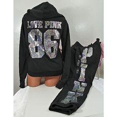 Pre-owned Victorias Secret Set Pink Silver Mega Bling Hoodie Signature... ($224) ❤ liked on Polyvore featuring tops, hoodies, blacks, hooded sweatshirt, silver top, silver sequin top, victoria secret hoodie and pink sequin top