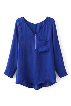 ROMWE | ROMWE Pocketed Zippered Sheer Blue Blouse, The Latest Street Fashion