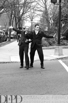 Goofy grooms crossing the street! Love this black and white photo. Michael & Steven's Whittemore House wedding by Charlotte Jarrett Events