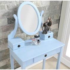 Roundhill Furniture Moniys Wood Moniya Makeup Vanity Table and Stool Set Blue -- Continue to the product at the image link-affiliate link. Painted Makeup Vanity, Pink Vanity, Makeup Table Vanity, Wood Vanity, Vanity Ideas, Girls Vanity Table, Little Girl Vanity, Contemporary Vanity, Wooden Stools