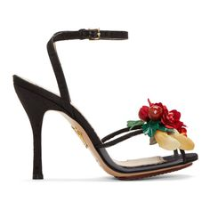 4/28/17 Charlotte Olympia - Black Tropical Heeled Sandals