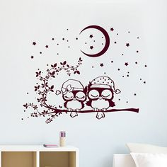 Muro decalcomanie gufo amore per bambini Kids vinile adesivo Moon Crescent Stars gufi Wall Decal Nursery Baby camera camera da letto sala giochi Gufo Decor SV6020