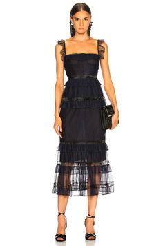 Image 1 of JONATHAN SIMKHAI Strapless Bustier Dress in Midnight & Black