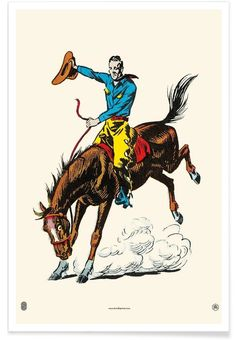 Cowboy Riding Bucking Bronco Sports Art Print - 46 x 61 cm Cowboy Art, Cowboy And Cowgirl, Art Occidental, Cowboys And Indians, Textiles, Le Far West, Western Art, Western Decor, Western Style