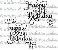 Happy Birthday Cake Topper Fonts Black White