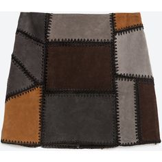 Zara Patchwork Leather Mini Skirt (260 SAR) ❤ liked on Polyvore featuring skirts, mini skirts, bottoms, dark grey, patchwork skirt, zara skirt, leather miniskirt, short skirts and leather skirt