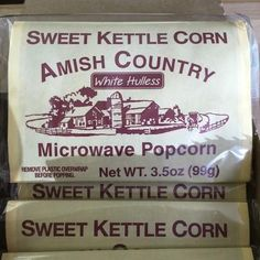 Amish Sweet Kettle Microwave Popcorn--These individual bags are a sweet fast treat!