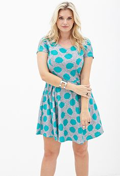 Spotted Fit & Flare Dress   FOREVER21 PLUS - 2000119844 Perfect flattering cut for top-heavy and hour glass shaped women!