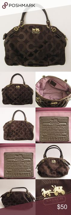 """Coach Madison Op Art Sofia Satchel Bag Authentic Coach No. H1093-15957 Madison Op Art Sofia Satchel Bag. Good condition. MISSING STRAP & FOB. WEAR on the handles and inside lining near the zipper is SOILED. Please see the last pic for the close-up flaws. Sold as is! Materials: Leather/Satin Fabric Dimensions: 11""""H x 16""""W x 5""""D , strap drop 6"""" ⚜❌SWAP❌TRADE ⚜✔️❤️Bundles📦 ⚜✔️Clean/Smoke-free/pet-free home Coach Bags Satchels"""