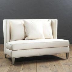"Conley Settee | Ballard Designs $1264 in white Overall: 38""H X 58 1/2""W X 37""D Trilby Basketweave Gray $989"