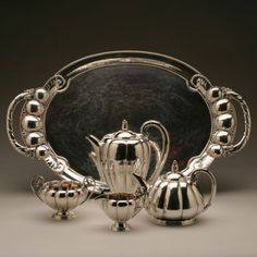 Gallery 925 - Georg Jensen Coffee and Tea Service no 179 on tray no 159. Exceptionally Rare , Handmade Sterling Silver