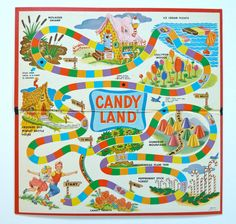 1960's Vintage Candy Land Game. When it first came out!! My grandmother kept one at her house for us to play while the adults were talking in living room.  We never interrupted unless it was very important. We didn't have this game at home so it did make it special