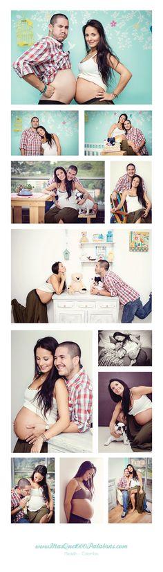 Un fotoestudio de embarazada en el cuarto de la bebé www.masque1000palabras.com Medellin - Colombia